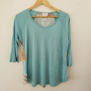Soft Surroundings | Blue Top With Sunset Back SP